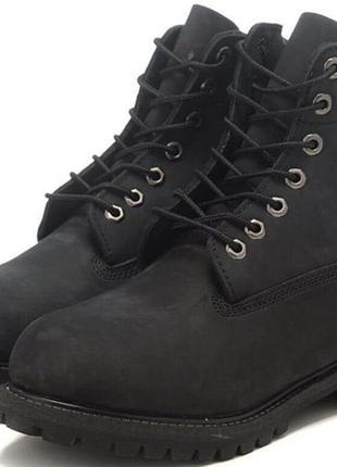 Самые модные черные нубуковые классические  мужские ботинки timberland