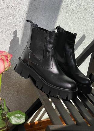 Демі кожа чоботи сапоги челси