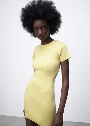 Платье рубчик резинка zara
