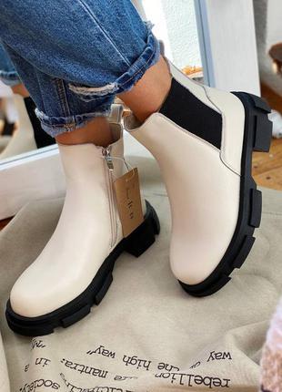 Сапоги ботинки кожа деми шкіра