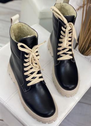 Зима ботинки кожа