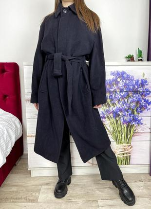 Темно синее шерстяное пальто миди 1+1=3