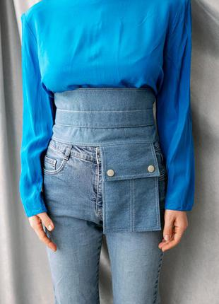 Тренд 2021!широкий джинсовый пояс beehive.накладной карман.пояс корсет