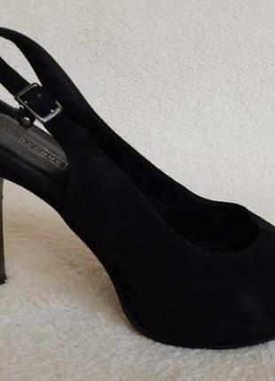 Замшевые босоножки туфли лодочки