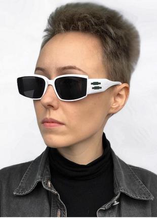 Уценка очки солнцезащитные белые узкие тренд ретро окуляри сонцезахисні білі нові
