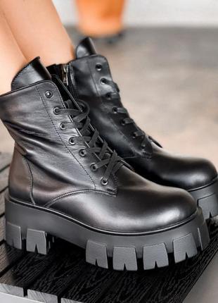 Кожаные ботинки берцы на тракторной подошве, внутри байка
