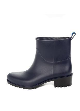 Резиновые сапоги ботинки устойчивый каблук женские синие бот-bg-5