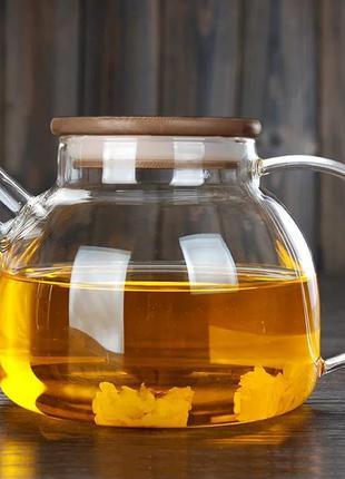 Чайник скляний з бамбуковою кришкою. 1000 мл.