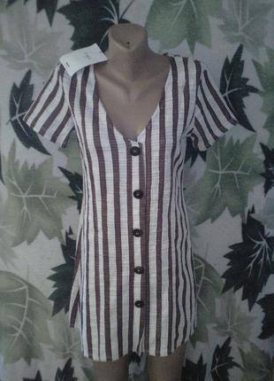 Удлиненная в полоску хлопковое хлопок  платье-рубашка на пуговицах