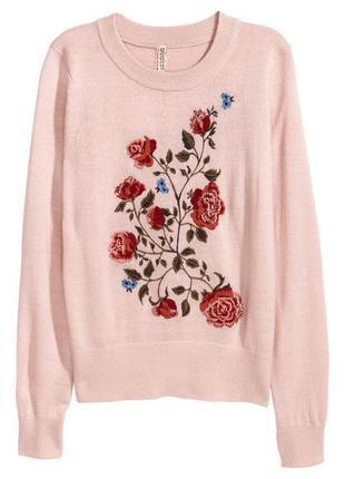 Роскошный джемпер свитер кофта премиум класса h&m. вышивка+паетки!