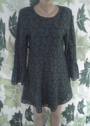 Zara basic morocco l 48. платье с длинным рукавом трапеция кружево цветы прошва кружевное хлопковое