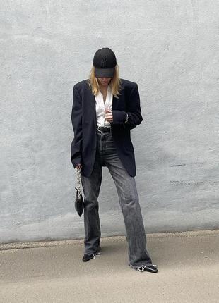 Широкие джинсы трубы со средней посадкой, прямые штаны, брюки