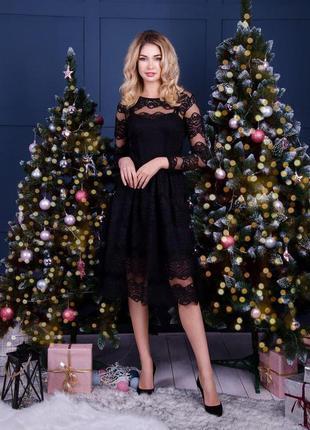 Платье сукня плаття нарядное красивое вечернее ажурное чёрное миди мальвина