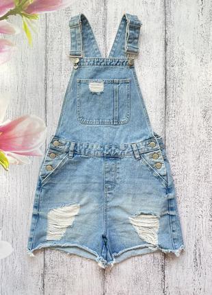 Крутой джинсовый комбинезон шорты denim co размер xs-s