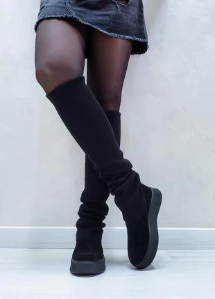 Чоботи замшеві р35-41 панчохи ботфорти демі зима сапоги замшевые чулки ботфорты ботинки
