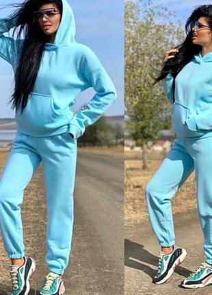 Базовый теплый костюм спортивный прогулочный оверсайз трехнить на флисе