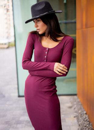 """Женское платье """"buttons"""" бордовое. размер 44.4 фото"""