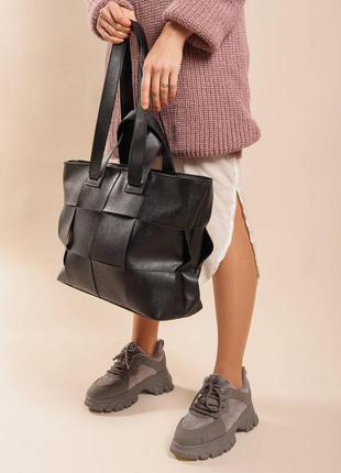 Шоппер черный сумка шоппер модные вместительные сумки женские большая вместительная сумка женская1 фото