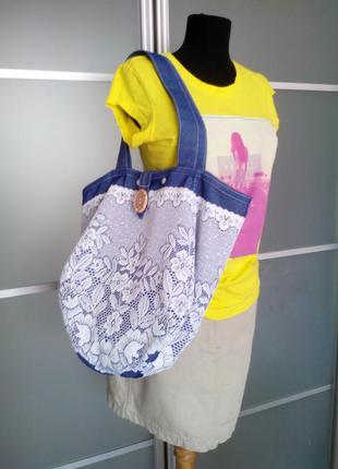 Нежная джинсовая сумочка! европейское кружево!2 фото