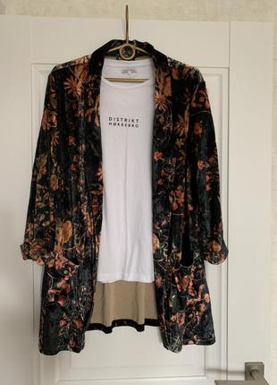 Amisu бархотный пиджак блейзер м-l размер7 фото