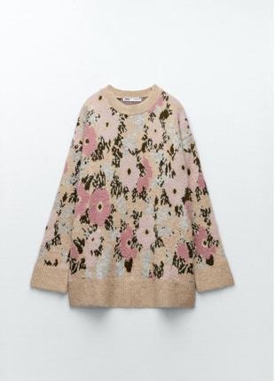 Свитер zara , свитер с цветочным принтом