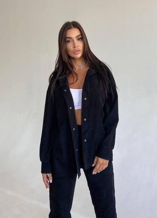 Вельветовый чёрный спортивный костюм куртка рубашка джогеры на резинке1 фото