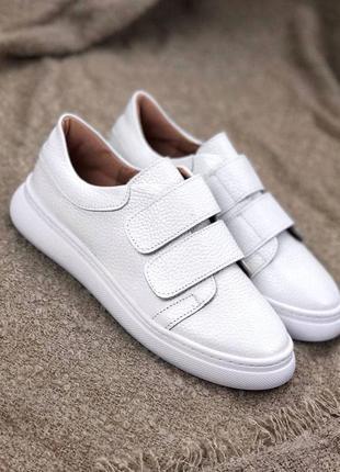 Рр 36,38,40.белые  кроссовки кеды из натуральной кожи1 фото