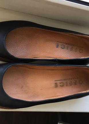 Кожаные лодочки туфли на манке  office6 фото