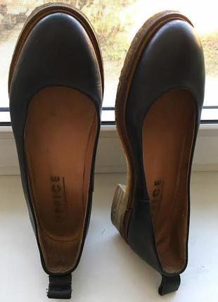 Кожаные лодочки туфли на манке  office7 фото