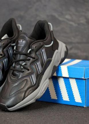 Качественные кожаные мужские  кроссовки adidas ozweego