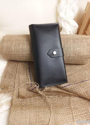 Черный кошелек, натуральная кожа, чорний гаманець, натуральна шкіра1 фото