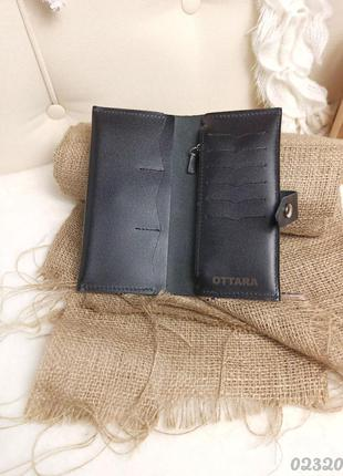 Черный кошелек, натуральная кожа, чорний гаманець, натуральна шкіра2 фото