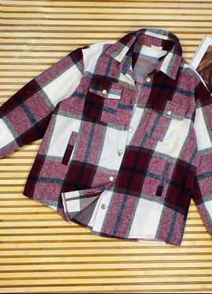 Теплая рубашка в клетку3 фото