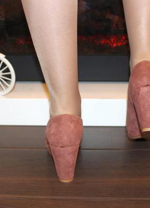 Туфли женские loretta розовые замшевые на танкетке 38 (23,5-23,8 см)6 фото