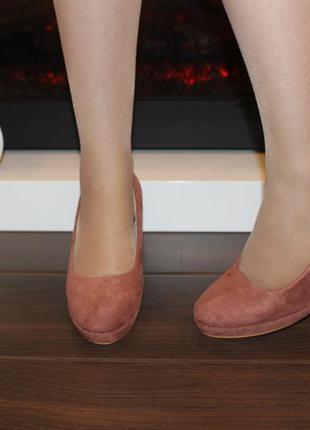 Туфли женские loretta розовые замшевые на танкетке 38 (23,5-23,8 см)5 фото