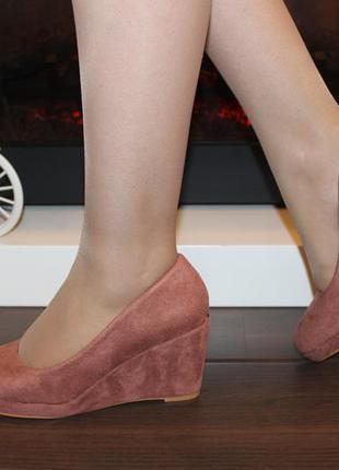 Туфли женские loretta розовые замшевые на танкетке 38 (23,5-23,8 см)3 фото