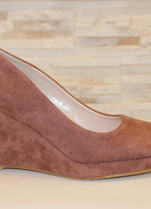 Туфли женские loretta розовые замшевые на танкетке 38 (23,5-23,8 см)2 фото