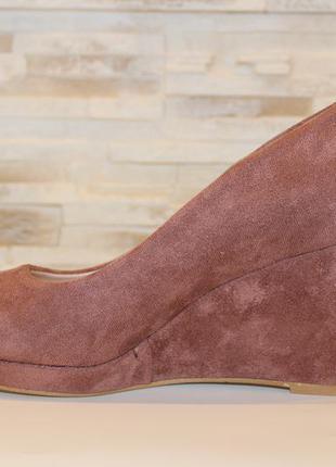 Туфли женские loretta розовые замшевые на танкетке 38 (23,5-23,8 см)7 фото