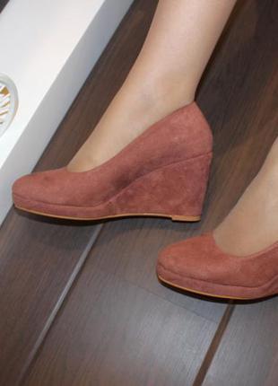 Туфли женские loretta розовые замшевые на танкетке 38 (23,5-23,8 см)1 фото