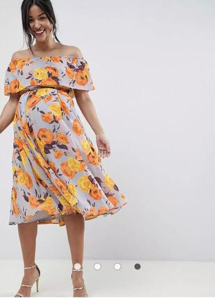 Платье миди-бандо с цветочным принтом asos для беременных1 фото