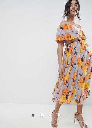 Платье миди-бандо с цветочным принтом asos для беременных2 фото