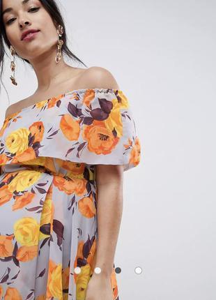 Платье миди-бандо с цветочным принтом asos для беременных3 фото
