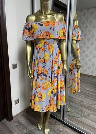Платье миди-бандо с цветочным принтом asos для беременных5 фото