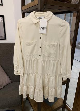 Платье рубашка с воланами от zara6 фото