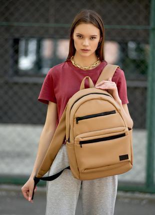 Женский вместительный бежевый рюкзак для вучебы и и активного образа жизни2 фото