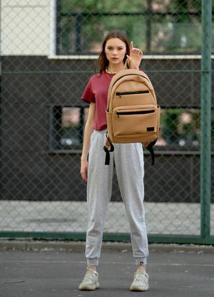 Женский вместительный бежевый рюкзак для вучебы и и активного образа жизни3 фото