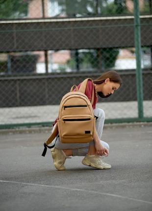 Женский вместительный бежевый рюкзак для вучебы и и активного образа жизни5 фото
