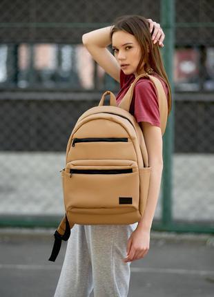 Женский вместительный бежевый рюкзак для вучебы и и активного образа жизни10 фото
