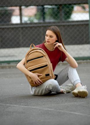 Женский вместительный бежевый рюкзак для вучебы и и активного образа жизни6 фото
