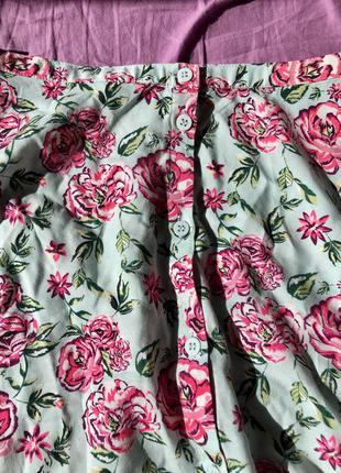 Юбка солнце клеш короткая на пуговицах цветочный принт пышная с высокой талией мятная голубая розовая2 фото